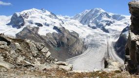 Gornergrat Summith Παγετώνας στην ηλιόλουστη ημέρα στοκ φωτογραφίες με δικαίωμα ελεύθερης χρήσης
