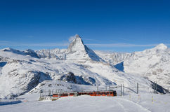 The Gornergrat train and Matterhorn Royalty Free Stock Photos