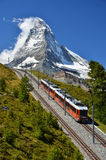 Gornergrat train and Matterhorn. Switzerland Royalty Free Stock Photography