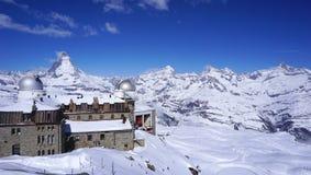 Gornergrat train station and Matterhorn peak in the background stock images