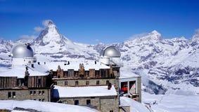 Gornergrat train station with Matterhorn peak Stock Image