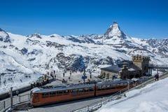 Gornergrat Train Station and The Matterhorn - Zermatt, Switzerland. Gornergrat Train Station and The Matterhorn in background - Zermatt, Switzerland stock photos