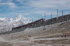 Gornergrat train with tourist is going to Matterhorn mountain royalty free stock images
