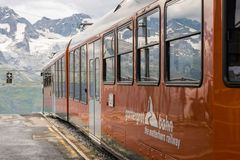 Gornergrat train waiting for toursits at the station at top of G royalty free stock images