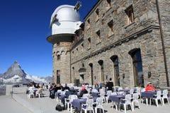 Gornergrat viewpoint on Matterhorn Stock Photography