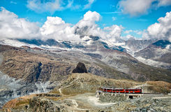 Gornergrat Zermatt, Switzerland, Swiss Alps. Gornergrat Zermatt, Switzerland. Landscape of snowy mountains with railway, swiss Alps stock photography