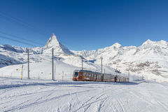 Gornergratbahn with Matterhorn Royalty Free Stock Image