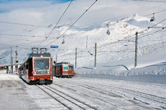 Gornergratbahn train. Arrive to the Riffelberg ski station stock image