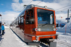 Gornergratbahn train on Riffelberg Stock Photography