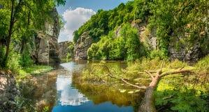 Gornij Tikich mountain river with cliffs and fallen tree Stock Photo