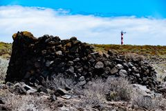 The lighthouse in the background in Tenerife is named Faro de Rasca stock photos