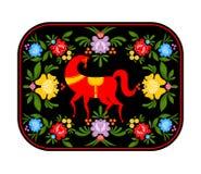 Gorodets που χρωματίζει το κόκκινο άλογο και το floral δίσκο στοιχείων Ρωσικό NA Στοκ Φωτογραφίες