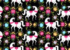 Gorodets που χρωματίζει το μαύρο άλογο και το floral άνευ ραφής σχέδιο Russi Στοκ Φωτογραφία