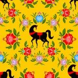 Gorodets που χρωματίζει το μαύρο άλογο και το floral άνευ ραφής σχέδιο Russi Στοκ Εικόνες