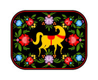 Gorodets che dipinge cavallo giallo e gli elementi floreali Russo Nati Fotografie Stock