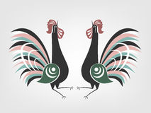 Gorodets cocks folk painting. Royalty Free Stock Photography