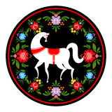 Gorodets die wit paard en bloemenelementen schilderen Russische Natio Royalty-vrije Stock Afbeelding