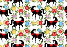Gorodets die Zwart paard en bloemen naadloos patroon schilderen Russi Royalty-vrije Stock Afbeeldingen