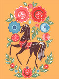 Gorodets horse folk painting Royalty Free Stock Photography
