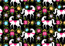 Gorodets painting Black horse and floral seamless pattern. Russi. An national folk craft ornament. Traditional decoration texture painting in Russia. Flowers and Stock Photography