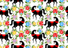 Gorodets painting Black horse and floral seamless pattern. Russi. An national folk craft ornament. Traditional decoration texture painting in Russia. Flowers and Royalty Free Stock Images