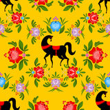 Gorodets painting Black horse and floral seamless pattern. Russi. An national folk craft ornament. Traditional decoration texture painting in Russia. Flowers and Stock Photo