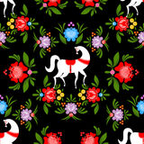 Gorodets painting Black horse and floral seamless pattern. Russian national folk craft ornament. Traditional decoration texture painting in Russia. Flowers and Stock Photos