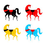 Gorodets painting colored horse set. Russian national folk craft. Elements of painting in Russia Royalty Free Stock Images