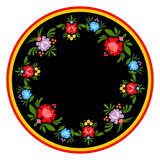 Gorodets painting plate. Russian national folk craft. Elements o. F tradiional painting in Russia. Flowers on black background Stock Image