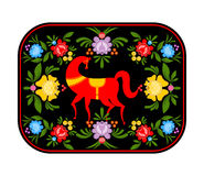 Gorodets painting red horse and floral elements tray. Russian na Stock Photos