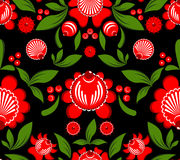 Gorodets painting seamless pattern. Floral ornament. Russian nat. Ional folk craft. Traditional decoration painting in Russia. Flowers and leaves texture. Retro Stock Image