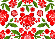 Gorodets painting seamless pattern. Floral ornament. Russian nat. Ional folk craft. Traditional decoration painting in Russia. Flowers and leaves texture. Retro Royalty Free Stock Images