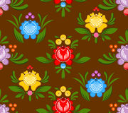Gorodets painting seamless pattern. Floral ornament. Russian nat. Ional folk craft. Traditional decoration painting in Russia. Flowers and leaves texture. Retro Royalty Free Stock Image