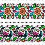 Gorodets painting seamless. Gorodets traditional painting. Seamless pattern with flowers and birds Stock Photo