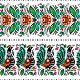 Gorodets painting seamless. Gorodets traditional painting. Seamless pattern with flowers and birds Stock Photos