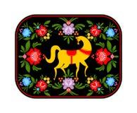 Gorodets que pinta el caballo amarillo y elementos florales Ruso Nati Fotos de archivo