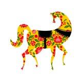 Gorodets que pinta el caballo negro y elementos florales Ruso Natio Fotografía de archivo