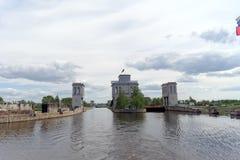 Gorodets, Rússia - 2 de junho 2016 Vista da entrada mais baixa Gorodetsky ao Rio Volga Foto de Stock Royalty Free