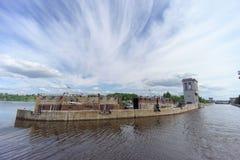 Gorodets, Rússia - 2 de junho 2016 Vista da entrada mais baixa Gorodetsky ao Rio Volga Fotos de Stock Royalty Free