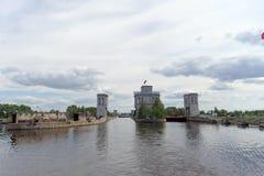 Gorodets, Rússia - 2 de junho 2016 Vista da entrada mais baixa Gorodetsky ao Rio Volga Fotos de Stock