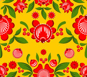 Gorodets seamless pattern. Floral ornament. Russian national fol. K craft. Traditional decoration painting in Russia. Flowers and leaves texture. Retro ethnic Royalty Free Stock Photography