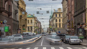 Gorohovaya street traffic timelapse in historic part of city in St.Petersburg, Russia. stock video footage