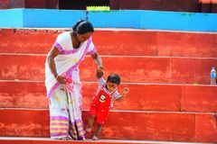 My mom and nephew playing with each other. At gorokhiya Gohair thaan Stock Images