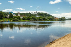 Gorokhovets, Vladimir region. The Klyazma River and Puzhalova mountain. Gorokhovets. Views on Puzhalova the mountain, churches and the monastery from the Royalty Free Stock Photos