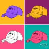 Gorra de béisbol dibujada mano Ejemplo del vector del estilo del arte pop stock de ilustración
