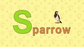 Gorrión Alfabeto inglés del PARQUE ZOOLÓGICO - letra S ilustración del vector