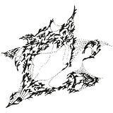 Gorrión de bostezo estilizado abstracto de B&W Imágenes de archivo libres de regalías