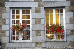 Gorron - Windows and flowers Stock Photos
