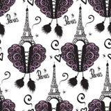 Gorsetowy sznurowanie i czarna atrament wieża eifla Paryż i gorseciki Wektorowy bezszwowy wzór odizolowywający na białym tle Obraz Stock