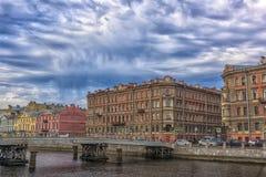Gorstkin bro över den Fontanka floden Fotografering för Bildbyråer